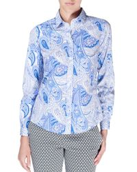 Etro - Blue Long-sleeve Paisley-print Blouse - Lyst
