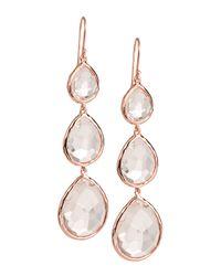 Ippolita | Pink Triple-drop Rose Earrings | Lyst