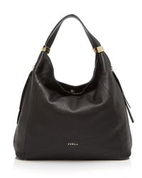Furla | Black Hobo - Liz Medium Zip | Lyst