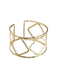 ASOS | Metallic Cut Out Hammered Cuff Bracelet | Lyst