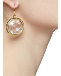 Kenneth Jay Lane - Metallic Brass Ring Crystal Drop Earrings - Lyst
