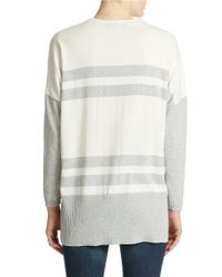 Lord & Taylor - Gray Oversized Striped Cardigan - Lyst