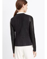 VINCE | Black Suede Blocked Drape Front Jacket | Lyst