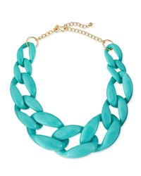Kenneth Jay Lane | Blue Enamel Link Necklace Turquoise | Lyst