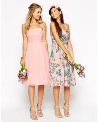 ASOS | Pink Wedding Midi Dress With Ruched Wrap Front | Lyst
