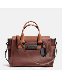COACH | Brown Swagger Carryall In Colorblock Leather | Lyst