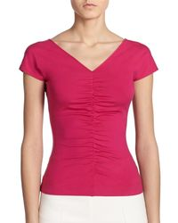 Akris Punto | Purple Ruched Jersey Top | Lyst