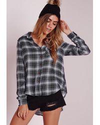 Missguided - Slim Checked Shirt Black/white - Lyst