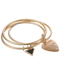 Guess | Metallic Trio Bangle Set with Logo Guitar Pick and Triangle | Lyst