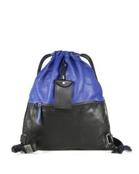 DIESEL - Blue Two-tone Drawstring Leather Backpack - Lyst