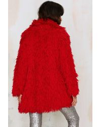 Nasty Gal - Red Vintage Shagittude Oversized Coat - Lyst