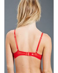 Forever 21 - Red Mesh-paneled Push-up Bra - Lyst
