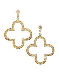 Freida Rothman - Green Double-drop Cz & Crystal Disc Earrings - Lyst