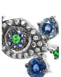 Ileana Makri | Metallic Whispered Snake 18kt Oxidized White Gold Ring With Rose Cut Coated Grey And Black Diamonds | Lyst