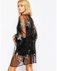 ASOS - Black Festival Kimono With Star Embellisment - Lyst