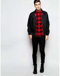 ASOS - Red Check Shirt In Heavyweight With Long Sleeves for Men - Lyst