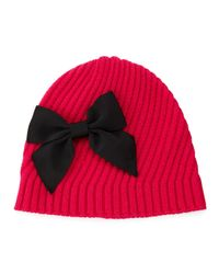 kate spade new york - Pink Diagonal Rib Beanie With Bow - Lyst
