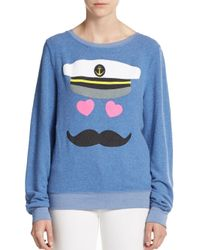 Wildfox | Blue Graphic Captain Sweatshirt | Lyst