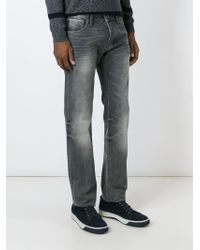 Armani Jeans | Gray Distressed Straight Leg Jeans for Men | Lyst