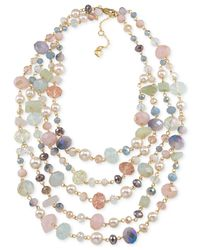 Carolee | Multicolor Gold-tone Pastel Bead Five-row Necklace | Lyst