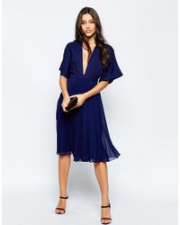 ASOS - Blue Kimono Sleeve Pleated Midi Dress - Navy - Lyst