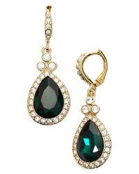 Givenchy | Green Pave Drop Earrings | Lyst