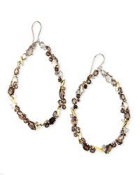 Alexis Bittar Fine   Metallic Smoky Quartz & Diamond Oval Cluster Hoop Earrings   Lyst