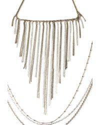 Forever 21 - Metallic Chain Fringe Necklace Set - Lyst