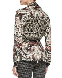 Etro - Gray Paisley-print Wrap Blouse W/ Belt - Lyst