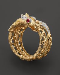 John Hardy | Batu Naga 18k Yellow Gold Diamond Pave Dragon Coil Ring with African Ruby Eyes | Lyst