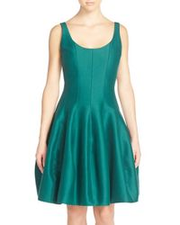 Halston | Green Cotton-Blend Sheath Dress | Lyst