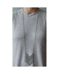 Spectrum | Gray Chevron Leather Necklace | Lyst