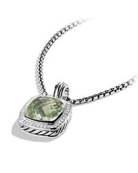 David Yurman | Green Albion Pendant With Diamonds, 14mm Gemstone | Lyst