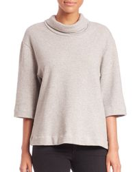 James Perse | Gray Oversized Funnelneck Top | Lyst