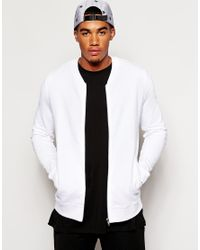 556f9bec35e ASOS Jersey Bomber Jacket In White - White in White for Men - Lyst