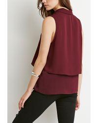 Forever 21 - Purple Layered Chiffon Shirt - Lyst
