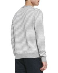 Rag & Bone - Gray Frederic Striped Woven Crewneck Sweater for Men - Lyst