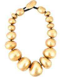 Monies - Yellow Metallic Ball Necklace - Lyst