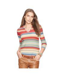 Ralph Lauren   Red Striped Knit Linen-cotton Top   Lyst