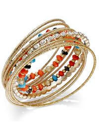 INC International Concepts - Multicolor Gold-Tone Mixed Bead And Crystal Bangle Bracelet Set - Lyst