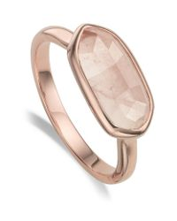 Monica Vinader | Metallic Vega Rose Quartz Ring | Lyst