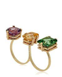 Delfina Delettrez | Multicolor Triple Stone Ring | Lyst