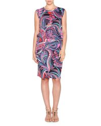 Emilio Pucci - Multicolor Sleeveless Ruched-waist Dress - Lyst