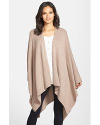 Eileen Fisher | Brown Cozy Wool Poncho | Lyst