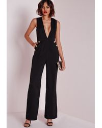 Missguided | Button Detail Plunge Jumpsuit Black | Lyst