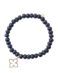 Sydney Evan | Blue 6Mm Faceted Sapphire Beaded Bracelet With 14K Rose Gold/Diamond Moroccan Flower Charm (Made To Order) | Lyst