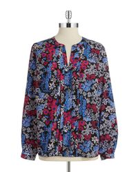 Jones New York | Multicolor Pleated Floral Blouse | Lyst