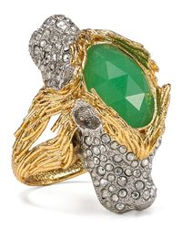 Alexis Bittar | Metallic Crystalencrusted Twoheaded Lion Ring | Lyst