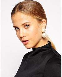 ASOS - White Faux Pearl Xl Swing Earrings - Lyst