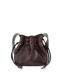 Halston - Black Bianca Medium Perforated Crossbody Bag - Lyst